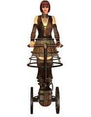 Frau im Steampunk Look auf einem Transporter