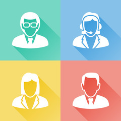 Business people colorful flat icons