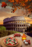 Colosseum with Italian pizza in  Rome, Italy - 55766987