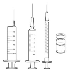 syringe and medicine vials outline vector