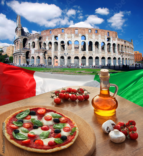 Colosseum with Italian pizza in  Rome, Italy