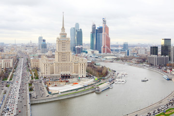 Hotel Ukraine and Moscow City business complex in Moscow