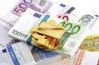Goldbarren und Euro-Banknoten