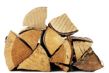 Brennholz gestapelt, Nahaufnahme
