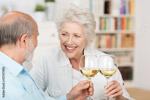 älteres paar stößt mit wein an - 55767984
