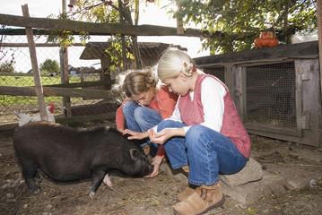 Mädchen mit Hängebauchschwein im Stall