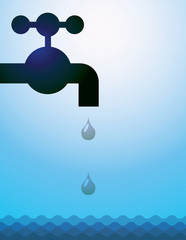 water tap, drops and water - illustration