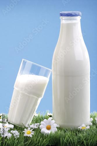 Milchflasche und ein Glas Milch, Nahaufnahme