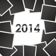 2014 on background of photo snapshots - illustration