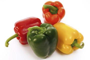 Rote, grüne und gelbe Paprika, Nahaufnahme