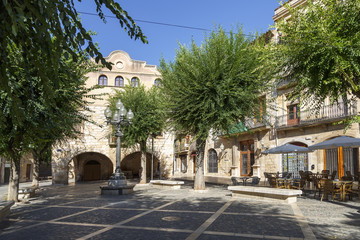 Square in the medieval town of Montblancl, Tarragona Spain