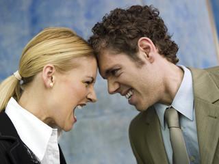 Geschäftsmann und Geschäftsfrau streiten, Seitenansicht, close up