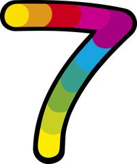 lucky seven with rainbow cartoon