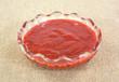 Bowl of cranberry honey mustard on burlap