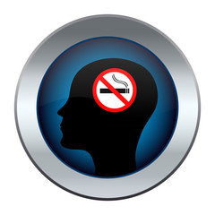 button with the image of a head with a no smoking sign