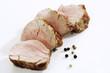 Gebratenes Schweinefilet, Scheiben-, Gewürz-Körner, Nahaufnahme