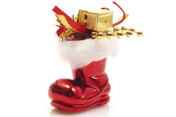 Weihnachtsmann Stiefel mit Geschenken, Nahaufnahme