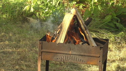Close up outdoor shot of fire in a brazier.