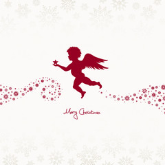 Flying Angel Holding Star Beige/Dark Red Snowflakes