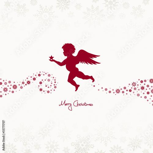 Flying Angel Holding Star Beige/Dark Red Snowflakes