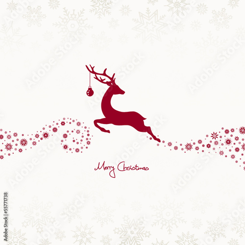 Jumping Reindeer, Christmas Ball & Stars Beige/Dark Red