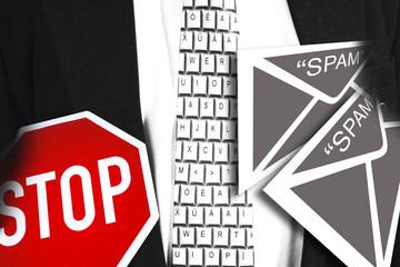 Spam E-Mail und Stoppschild, Composing