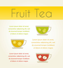 three cups of tea with fruit tea. vector infographics