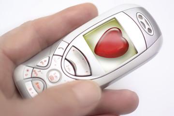 Handy-Anzeige: Herzform, Nahaufnahme