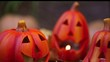 Scary halloween pumpkins jack-o-lantern candle lit. Dolly shot