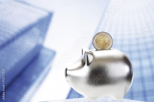 Euro-Münze, Sparschwein, Nahaufnahme