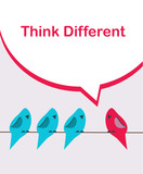 think different. pink bird sitting on a wire among blue birds poster