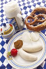 Bayerische Weißwurst, typische lokale Delikatesse