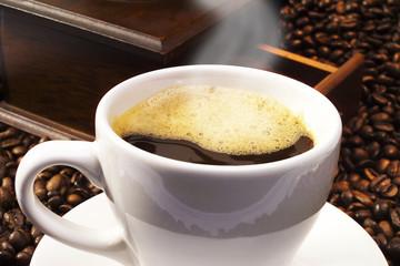 Frische Tasse Kaffee, Nahaufnahme