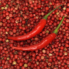 Rote Chilischoten auf rotem Pfeffer, Nahaufnahme