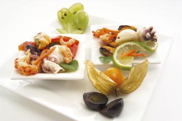 Meeresfrüchte auf der Teller, erhöhte Ansicht