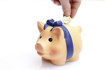 Menschliche Hand, die 2 Euro in Sparschwein steckt, Nahaufnahme