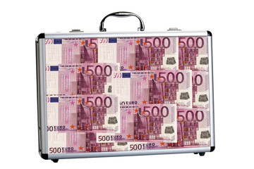 Koffer mit 500-Euro-Noten gefüllt