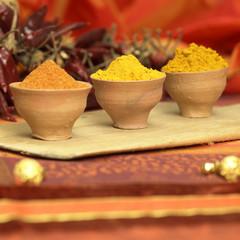 Curry, Kurkuma und Chilipulver in Schalen, Nahaufnahme
