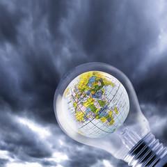 Globus in Glühbirne, Nahaufnahme