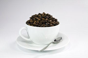 White ceramic cup with roasted coffee seeds.