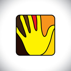 Person's hand(palm) icon(symbol) in a rounded rectangle- vector