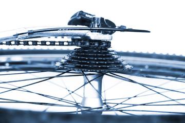 Rad und Gangschaltung des Fahrrades, Nahaufnahme