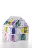 Einfamilienhaus von Euro-Banknoten