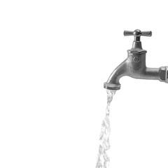 Wasser läuft aus Wasserhahn, Nahaufnahme