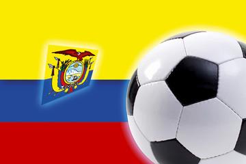 Fußball vor kolumbianischer Flagge