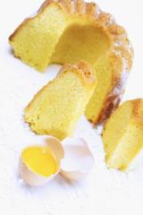 Eigelb und Kuchen, erhöhte Ansicht