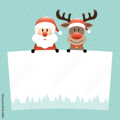 Santa  & Rudolph Label Dots Retro
