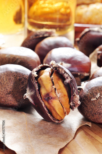roasted chestnuts, typical snack in All Saints Day in Catalonia,