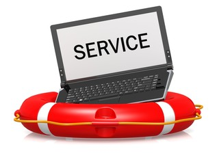 Lifebouy with laptop service