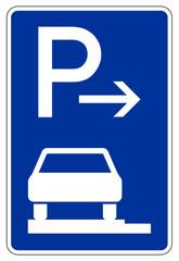 Parken ganz auf Gehwegen in Fahrtrichtung links (Ende)